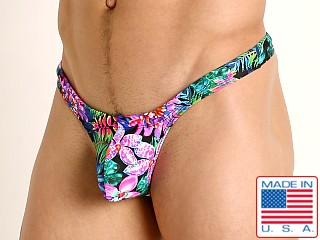 Model in fluorescent flowers Rick Majors Low Rise Swim Thong