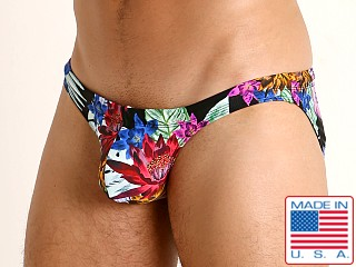 Model in black tropics Rick Majors Super Low Rise Swim Brief