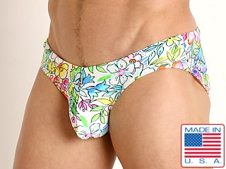 Model in floral glow Rick Majors Low Rise Swim Brief