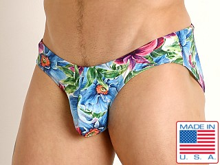 Model in island flowers Rick Majors Low Rise Swim Brief