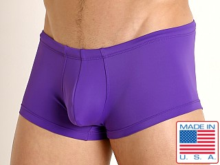 Model in dark purple Rick Majors Low Rise Swim Trunk