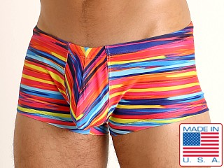 Model in candy stripes Rick Majors Low Rise Swim Trunk