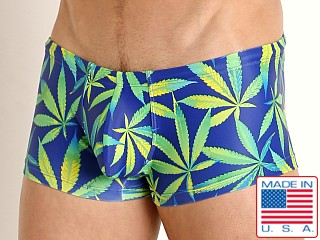Model in blue sativa Rick Majors Low Rise Swim Trunk