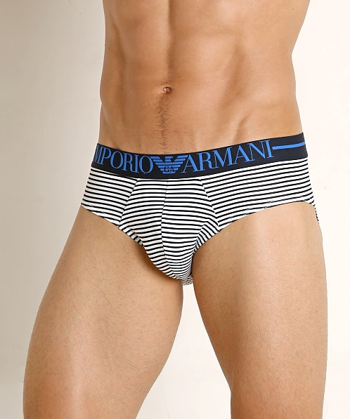Emporio Armani Microfiber Sailor Brief White/Marine