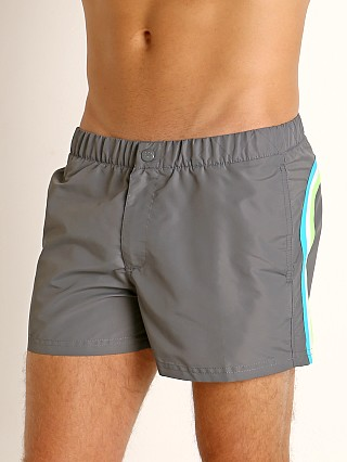 "Model in medium grey #6 Sundek 13"" Elastic Waistband Surf Trunk Grey #6"