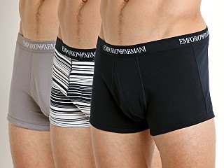 Emporio Armani Genuine Cotton Trunk 3-Pack Marine/Stripe/Iron