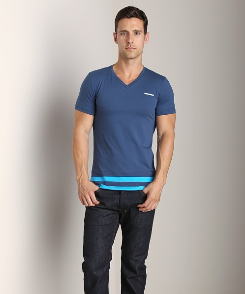 Diesel Super Stripe Michael V-Neck Shirt Turquoise