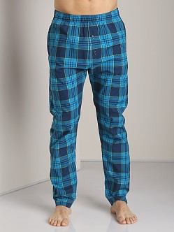 Diesel Workyboy Plaid Lounge Pants Turquoise