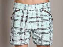 C-IN2 Plaid Cargo Shorts Green Swarm Print