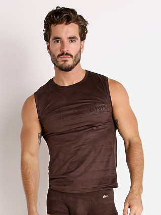 Modus Vivendi Vegan Suede Laser Cut Muscle Shirt Brown