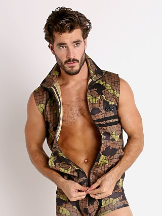 Modus Vivendi Trapped Camo Sleeveless Jacket Khaki