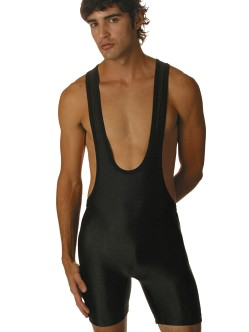 Matman Black Lycra T-Back Singlet