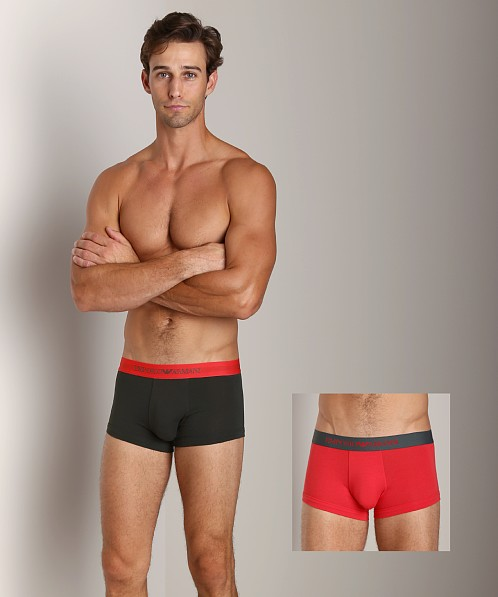 Emporio Armani Stretch Cotton 2-Pack Trunk Alga/Red