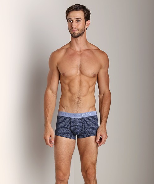 Emporio Armani All Over Logo Stretch Cotton Trunk Marine
