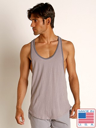 Model in pewter Go Softwear Moderne Classic Muscle Tank Top