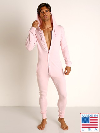 Model in light pink Go Softwear Moderne Hooded Union Suit