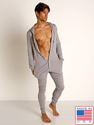 Model in pewter Go Softwear Moderne Hooded Union Suit