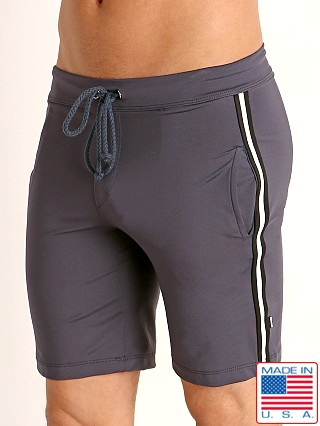 Model in charcoal Sauvage Low Rise Nylon/Lycra Workout Short