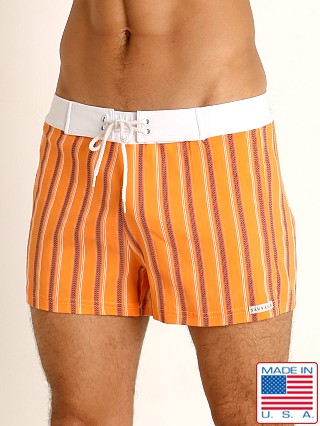 Model in orange stripe Sauvage Retro Lycra Swim Short