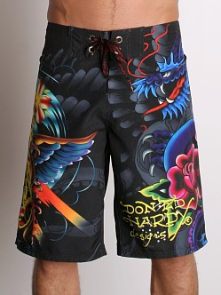 Ed Hardy Dragon Rose Boardshorts Black