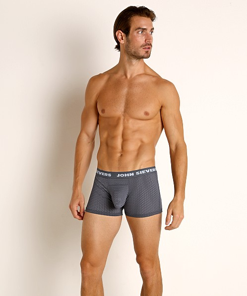 John Sievers STRETCH MESH Natural Pouch Boxer Briefs Steel Grey