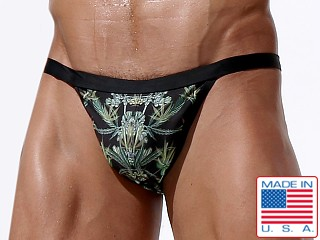 Rufskin Canna Euro-Cut Swim Brief Hemp Flower Print