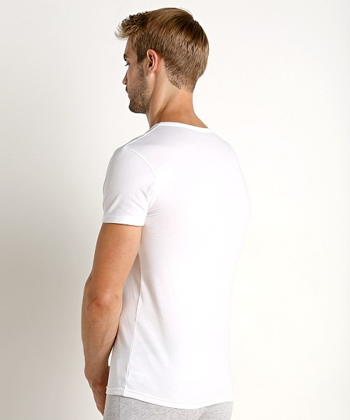 Emporio Armani Stretch Cotton V-Neck Shirt White