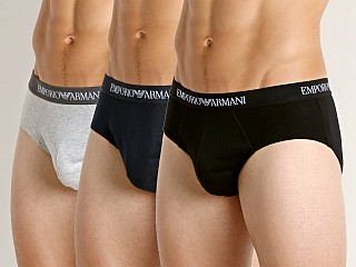 Model in navy/heather grey/black Emporio Armani Pure Cotton Brief 3-Pack Navy/Grey/Black
