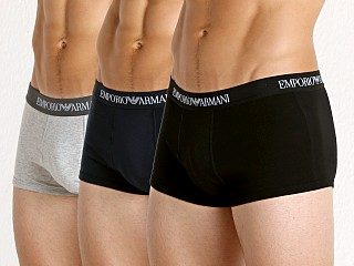 Model in navy/heather grey/black Emporio Armani Pure Cotton Trunk 3-Pack Navy/Grey/Black