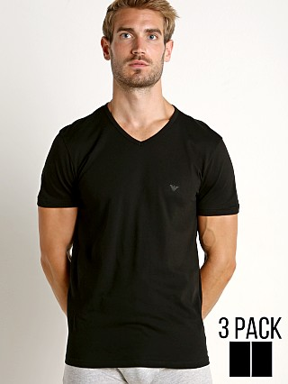 Model in black Emporio Armani Pure Cotton V-Neck Shirt 3-Pack