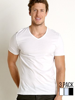 Emporio Armani Pure Cotton V-Neck Shirt 3-Pack White/Grey/Black