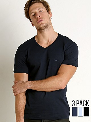 Emporio Armani Pure Cotton V-Neck Shirt 3-Pack Navy/Grey/Black