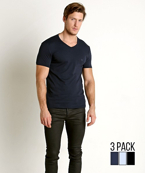 great quality cheap sale detailed images Emporio Armani Pure Cotton V-Neck Shirt 3-Pack Navy/Grey/Black