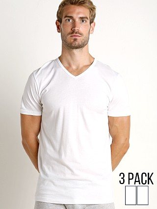 Emporio Armani Pure Cotton V-Neck Shirt 3-Pack White