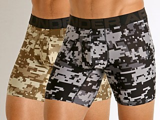 Model in canyon green-black Under Armour Tech Printed Boxerjock 2-Pack Canyon Green