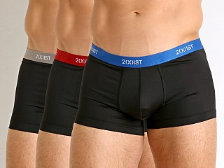 Model in black w. lapis/scotts red/sharkskin 2xist Micro Speed Dri No-Show Trunk 3-Pack Black Multi