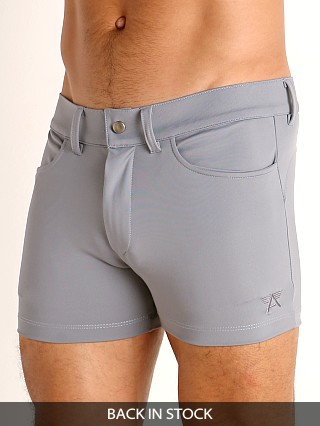 Model in silver LASC Retroactive Scouting Shorts
