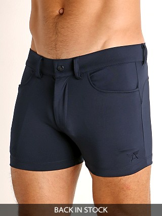 Model in navy LASC Retroactive Scouting Shorts