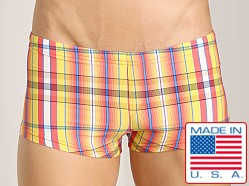 Sauvage Como Italia Plaid Square Cut Swim Trunk Orange
