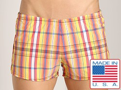 Sauvage Como Italia Plaid Swim Trunk Orange