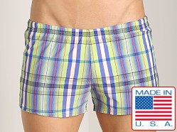 Sauvage Como Italia Plaid Swim Trunk Lime