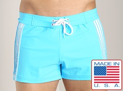 Sauvage Retro Side Stripe Swimmer Turquoise/White