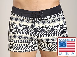 Sauvage Vintage Tribal Swim Trunk Black Aztec