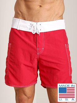 Sauvage Pocketed Board Shorts Red/White