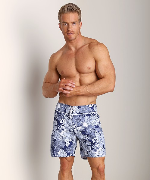 Sauvage Kiwi Italian Nylon Board Shorts Navy/White Print
