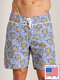 Sauvage Kiwi Italian Nylon Board Shorts Navy/Yellow Print
