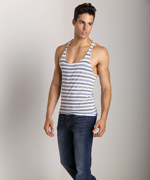 LASC Spring Tank Striped Navy/White Stripes