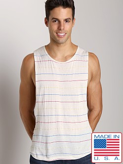 LASC Cut Out Stripe Tee Natural Pin Stripes