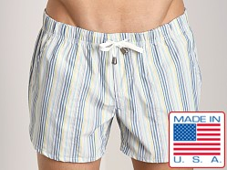 LASC Striped Sun Swim Boxer Blue
