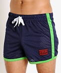 Jack Adams Air Mesh Training Short Navy/Lime, view 3